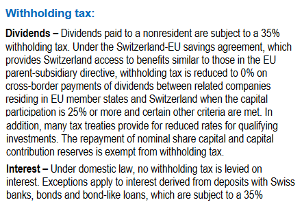 Swiss Withholding tax